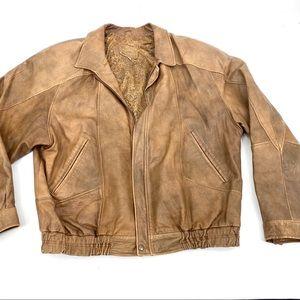 Vera Pelle distress Italian leather bomber jacket